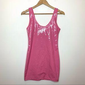 Daisy Pink Vinyl Shiny Mini Dress Body con Zipper